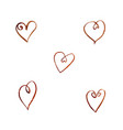 set of watercolor coffee hearts vector image vector image