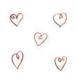 set watercolor coffee hearts vector image