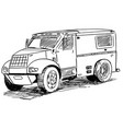 sketch drawing of armored truck vector image vector image