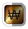 sticker golden square with currency symbol of vector image vector image