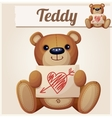Teddy bear with Valentines day greeting card vector image vector image