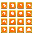 tent forms icons set orange square vector image vector image