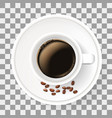 top view of cup on saucer with coffee beans vector image vector image