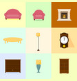 various home furniture flat color set vector image