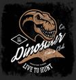 vintage furious dinosaur bikers gang club tee vector image vector image