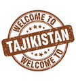 welcome to tajikistan brown round vintage stamp vector image vector image