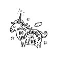 where do unicorns live cartoon sketch vector image vector image
