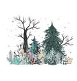 winter forest landscape with pine fir tree vector image vector image
