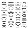 silhouette black white mustache hair vector image