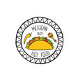 mexican burrito food doodle symbol round shape vector image