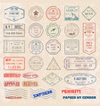 set vintage postage stamps from countries vector image