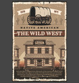 american wild west saloon and wagon retro poster vector image vector image