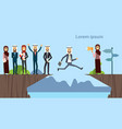 arab businessman jumping over obstacles chasm go vector image vector image