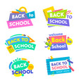 back to school banners set colorful tags icons vector image vector image