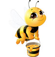 beautiful bee with a bucket vector image vector image
