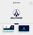 bell notification tower logo template and vector image