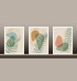 botanical wall art set green tropical fern