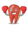 boxing fish slice character cartoon vector image