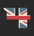 capital number four with uk flag texture isolated vector image