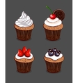 Cartoon Cupcakes Collection vector image vector image