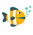 cartoon fish with bubbles flat icon vector image vector image