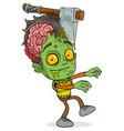 cartoon funny green zombie boy character vector image vector image