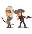 cartoon indian boy and cowboy characters set vector image vector image