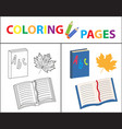 coloring book page back to school set book vector image vector image