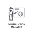 construction manager line icon sign vector image vector image