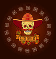 day of the dead skull in sombrero vector image