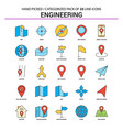 engineering flat line icon set - business concept vector image