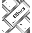ethics concept on the modern computer keyboard key vector image vector image