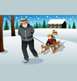 father pulling his sons riding on a sled vector image
