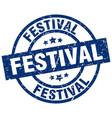 festival blue round grunge stamp vector image vector image
