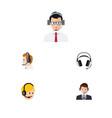 flat telemarketing set of help earphone vector image vector image