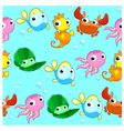Funny sea animals with background vector image vector image