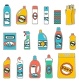 Group bottles of chemicals for household on white vector image vector image
