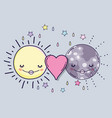 happy sun and moon with heart love vector image vector image