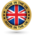made in uk gold label vector image vector image