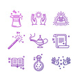 magic related linear icons and signs vector image vector image