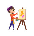 male artist character holding palette and brush vector image vector image