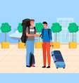 male tourists waiting near airport with luggage vector image