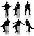 man silhouette sitting on bar stools set vector image vector image