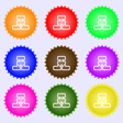 Network icon sign A set of nine different colored vector image