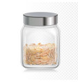 oat flakes oatmeal in glass jar vector image vector image