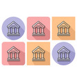 outlined icon bank building ancient style vector image