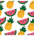 pineapple and watermelon tropical fruit seamless vector image vector image