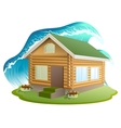 Property insurance Wooden house was flooded with vector image vector image