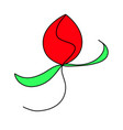red rose abstract flower herbs plant trendy summer vector image vector image