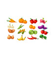 ripe glossy coloful vegetables and fruits game vector image